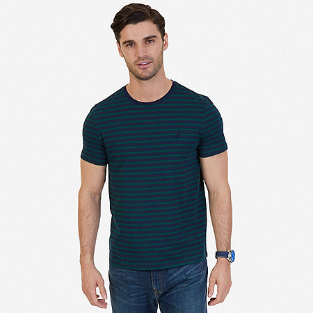 Striped Crew-Neck T-Shirt - Cosmic Fern