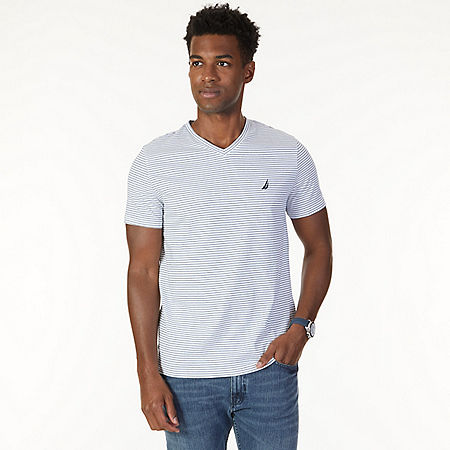 Striped V-Neck T-Shirt - Bright White