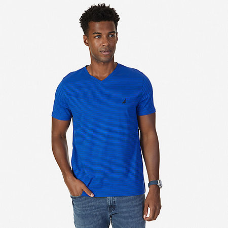 Striped V-Neck T-Shirt - Bright Cobalt