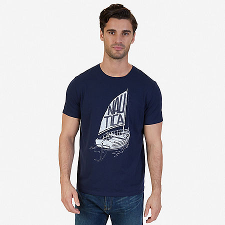 Nautica Boat Graphic T-Shirt - Navy