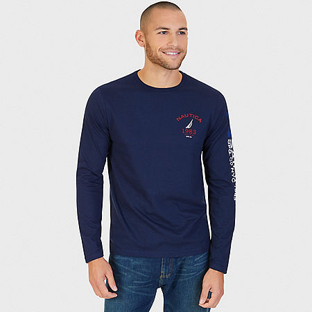 J Class Arm Long Sleeve T-Shirt - Navy