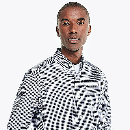 Classic Fit Gingham Stretch Poplin Shirt - J Navy