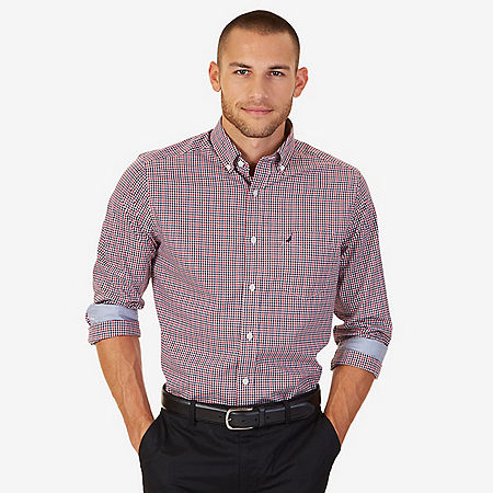 Nautica Classic Fit Wrinkle Resistant Marine Mini Plaid Shirt - Nautica Red