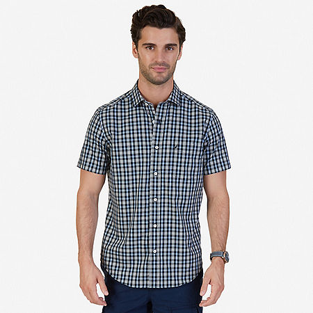 Classic Fit Wrinkle Resistant Seashore Plaid Short Sleeve Shirt - True Black