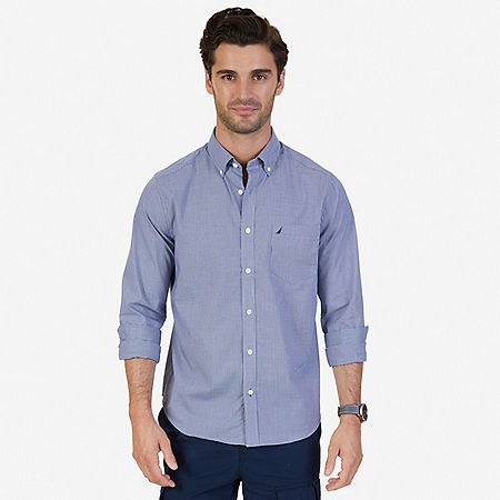 Classic Fit Wrinkle Resistant Micro Check Shirt - J Navy