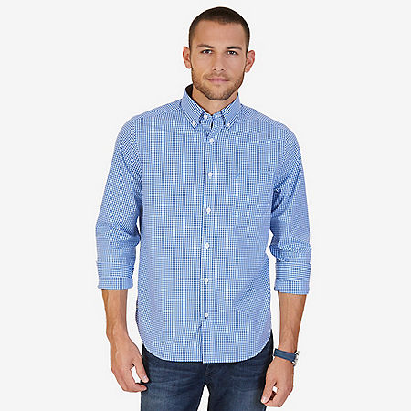 Classic Fit Wrinkle Resistant Plaid Shirt - Indigo Heather