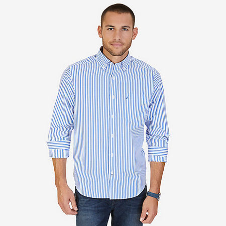 Classic Fit Wrinkle Resistant Striped Shirt - French Blue