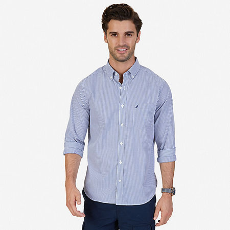 Classic Fit Wrinkle Resistant Striped Shirt - J Navy