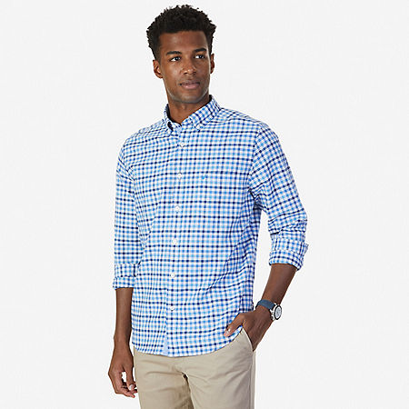 Classic Fit French Plaid Oxford Shirt - Blue Grass