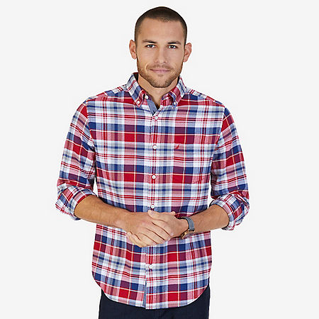 CLASSIC FIT CASUAL FLANNEL TWILL PLAID - Nautica Red