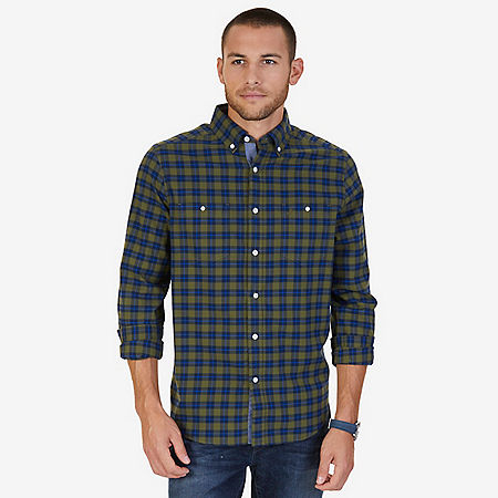 Classic Fit Coastal Plaid Flannel Shirt - Green Spruce