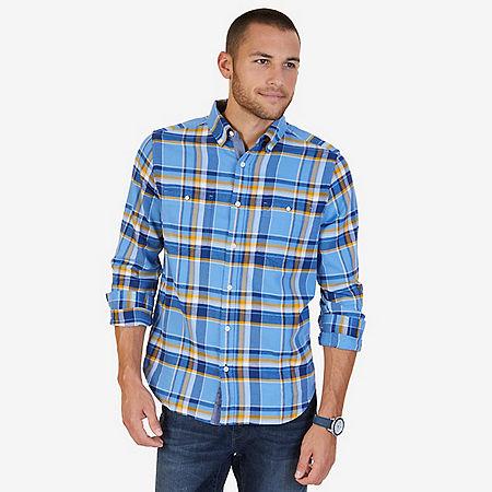 Classic Fit Plaid Flannel Shirt - Riviera Blue