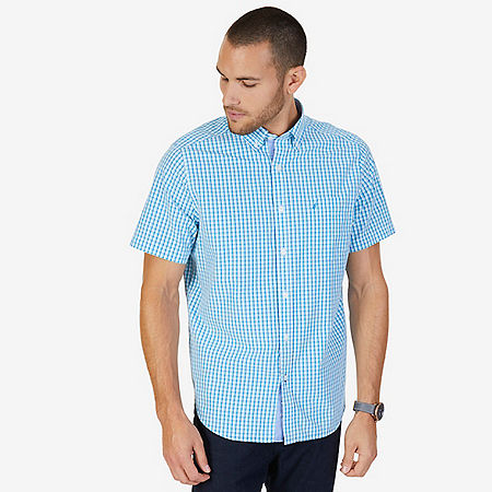 Gingham Plaid Classic Fit Short Sleeve Button Down Shirt - Sapphire