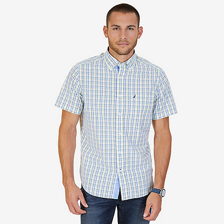 Tartan Plaid Classic Fit Short Sleeve Button Down Shirt - Vibrant Yellow