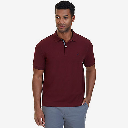 Nautica Big & Tall Performance Deck Polo Shirt - Royal Burgundy