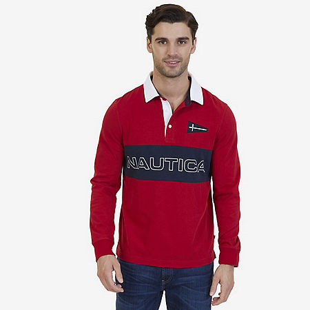Nautica Big & Tall Heritage Chest Logo Long Sleeve Polo Shirt - Nautica Red