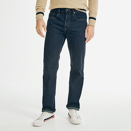 Straight Fit Dark Wash Jean - Marine Rinse Denim Wash