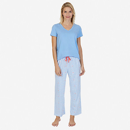 Printed Pajama Set - Light Dusk/pond Blu