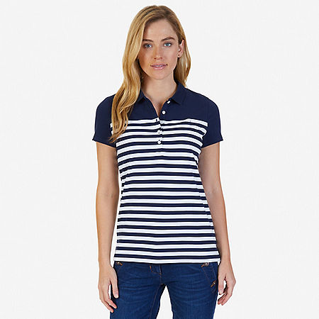 Striped Polo Shirt - Indigo Heather