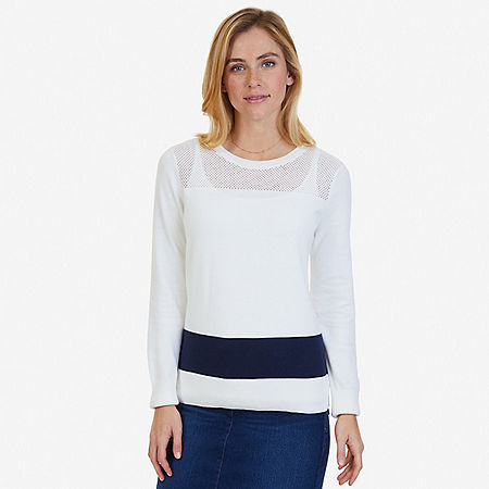 Textured Color Block Sweater - Marshmallow