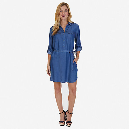 Denim Shirt Dress - Cape Grey Wash