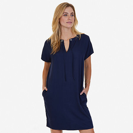 Drapey Grommet Dress - Indigo Heather