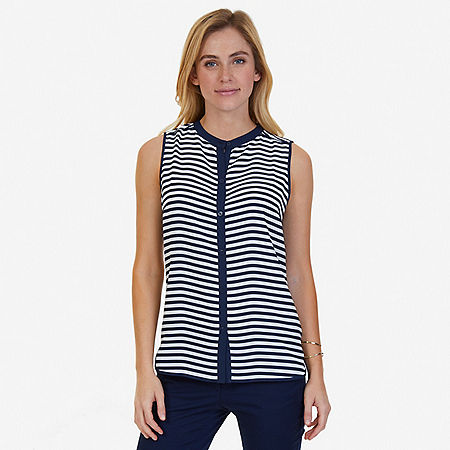 Striped Sleeveless Blouse - Marshmallow