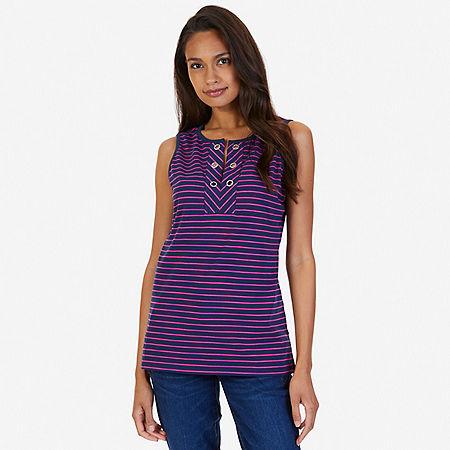 Grommet Striped Sleeveless Top - Indigo Heather