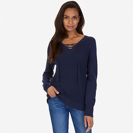 Lace Up Sweater - Indigo Heather