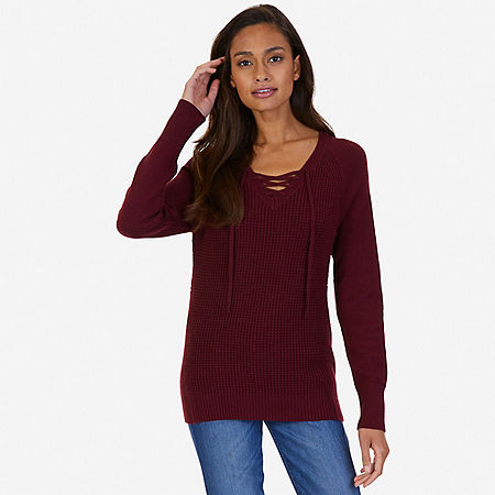 Lace Up Sweater - Port Scarlet
