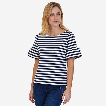 Striped Ruffle Sleeve Top - Indigo Heather