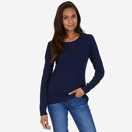 Cable Knit Sweater - Indigo Heather