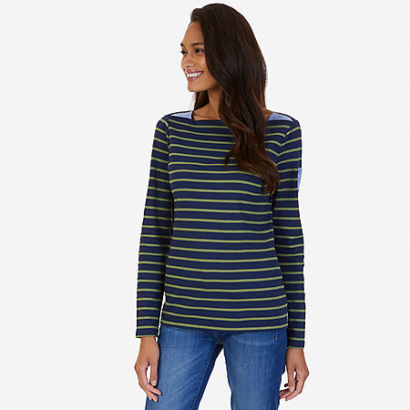 Striped Chambray Accent Top - Indigo Heather