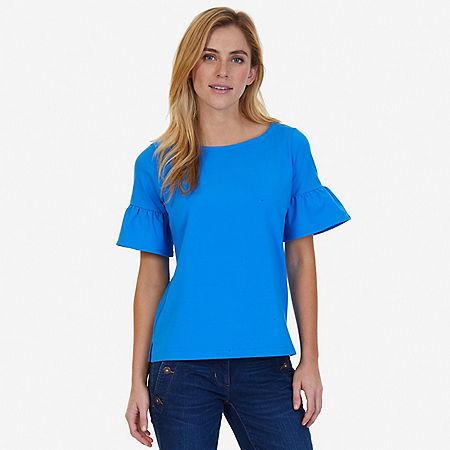 Ruffle Sleeve Top - Naval Blue