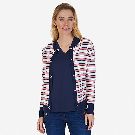Striped Grommet Cardigan - Desert Rose
