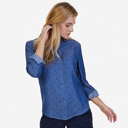 Allover Anchor Perfect Shirt - Cape Grey Wash
