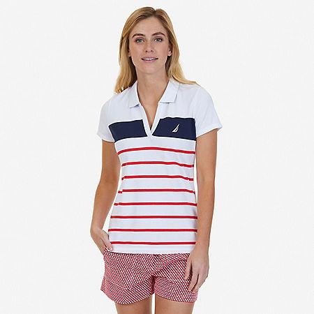 Engineered Stripe Polo Shirt - Desert Rose