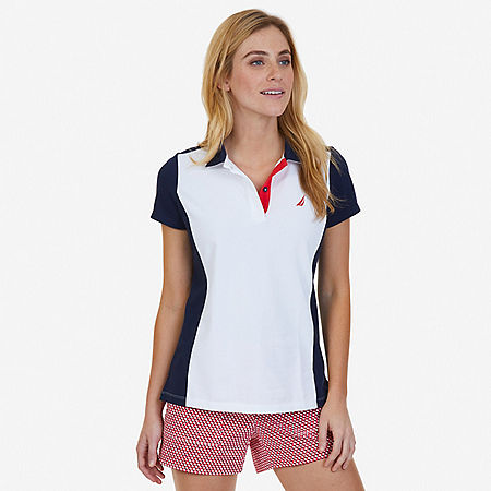 Color Blocked Polo Shirt - Bright White