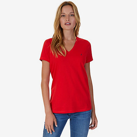 V-Neck Tee - Tomales Red