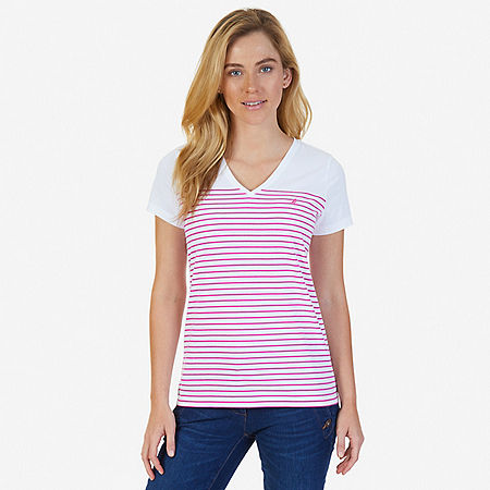 Striped V-Neck Tee - Barely Pink