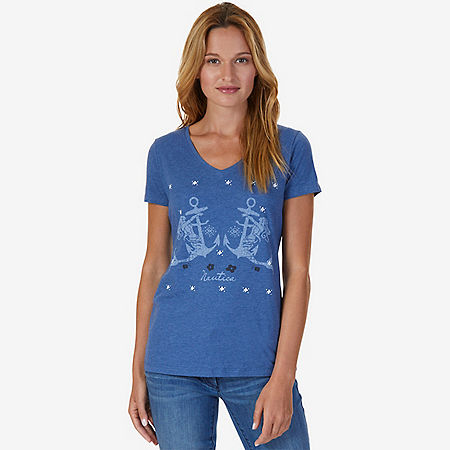 Double Anchor V-Neck Tee - Cool Breeze