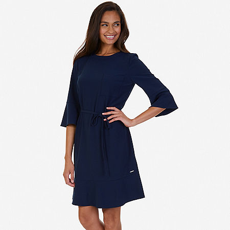 Flounce Sleeve Dress - Indigo Heather