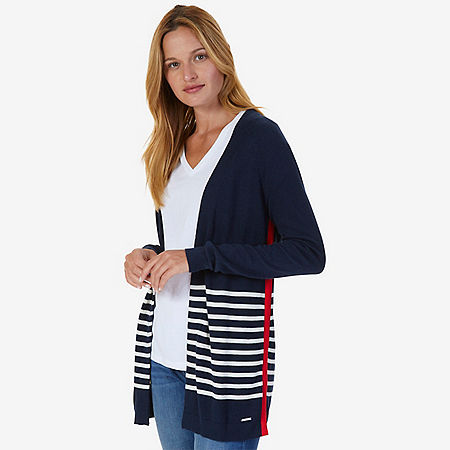 Breton Stripe Flyaway Cardigan - Indigo Heather