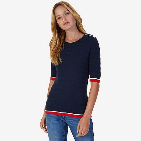 Short Sleeve Tipped Sweater - Indigo Heather
