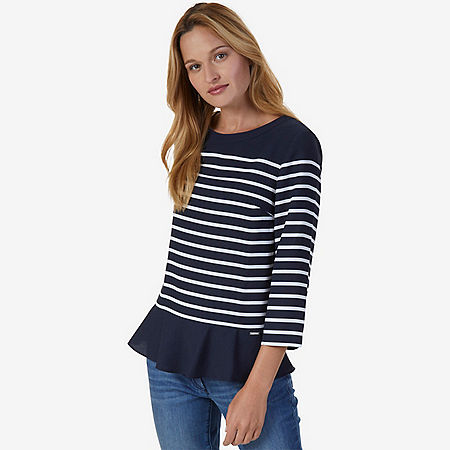 Breton Stripe Peplum Top - Indigo Heather