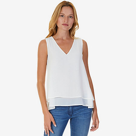 Double Layered Sleeveless Top - Marshmallow