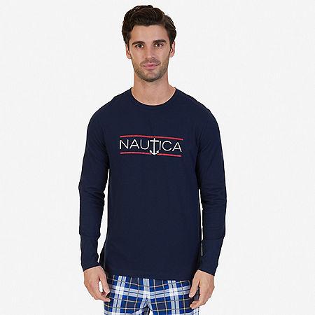 Slim Fit Long Sleeve Logo Sleep T-Shirt - Navy