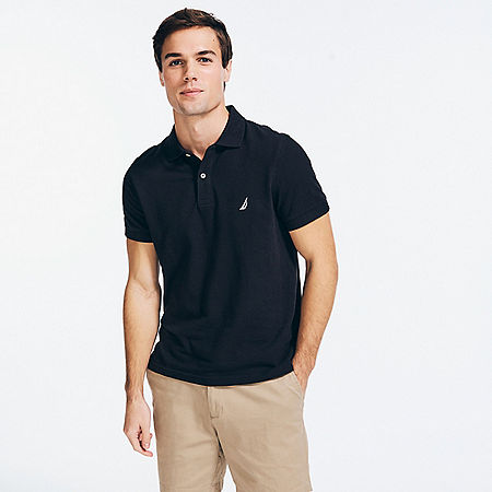 Slim Fit Deck Polo Shirt  - True Black