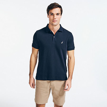 Slim Fit Interlock Polo Shirt - Navy