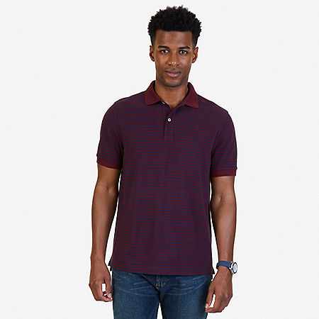 Classic Fit Striped Polo Shirt - Royal Burgundy